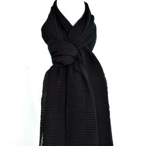 Inc Sheer Pleated Wrap Scarf Tassels New